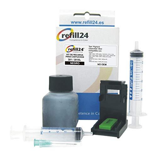 Kit de Recarga para Cartuchos de Tinta HP 301, 301 XL Negro, Incluye Clip y Accesorios + 50 ML Tinta