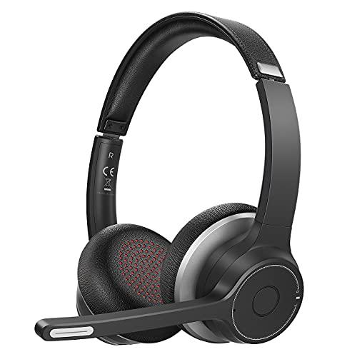Stereo Wireless Headset Mit Dual Mic Rauschunterdrückung, Kabellose Kopfhörer, 22h Stdn, CVC8.0 Wireless Kopfhörer,3.5mm Wired/Wireless Headset für Online-Meetings, Online-Lernen