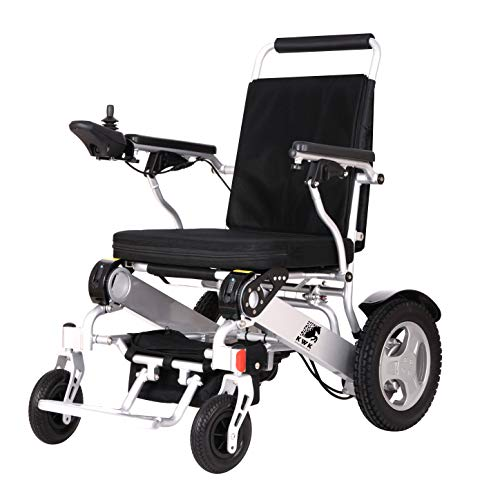 Super Heavy Duty Electric Wheelchair by KWK/Lithium Batteries/Extra Powerful/ONLY 26.50KG/ VAT Relief Available - Ask Before Purchase/ 2YEARS Warranty/Next Day UK Express Shipment (Silver)