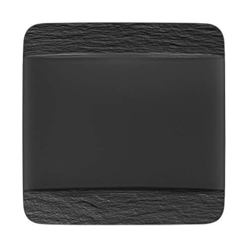 Villeroy & Boch - Manufacture Rock Speiseteller quadratisch, modern geformter Essteller aus Premium Porzellan, spülmaschinengeeignet, schwarz