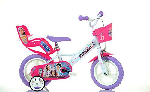 giordanoshop 12 Zoll Kinderfahrrad Dino Miracle Tunes 20 cm Mädchenfahrrad Felgenbremse Weiß/Violett weiß,violett 20 cm 12 Zoll
