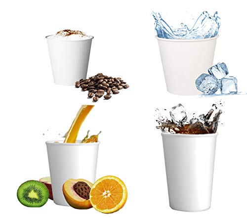 Skiokko - 180 Ml 6,5 Oz Set di 100 Bicchieri Cartoncino Rigido USA E Getta per caffè Americano, Acqua, Latte, Succho di Frutta, Bicchiere di Carta Biodegradabile Monouso, per Caldo E Freddo