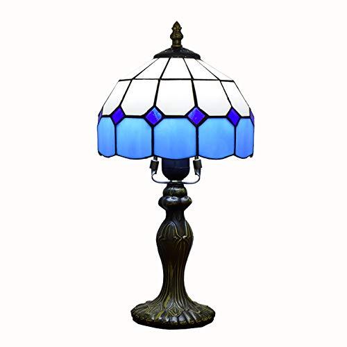 WRMIGN Vintage Tiffany Tischlampen Blau 8 Zoll, Tiffany Tischlampe Antik Original, Glasmalerei Lampen MediterraneSchlafzimmer Nacht Lampenschirme Wohnzimmer