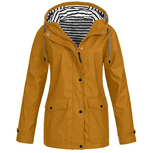FMYONF Chubasquero para mujer, ligero, transpirable, chaqueta de entretiempo, chaqueta cortavientos, chaqueta para mujer, chaqueta impermeable con cordón, patrón de cintura, capucha ajustable. caqui M