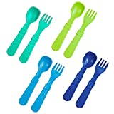 RE-PLAY Made in USA 8pk Toddler Feeding Spoon and Fork Set  Made from BPA Free Eco Friendly Recycled Milk Jugs   Aqua, Lime, Navy & Sky Blue   Dishwasher Safe  Under The Sea