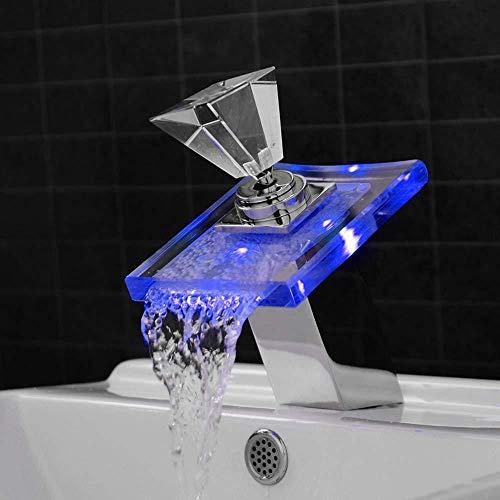 Led waterval waterkraan keramiek ventielinzetstuk badkamer warm en koud water onder de wastafel temperatuurregeling kleur licht glazen bak waterkraan glad