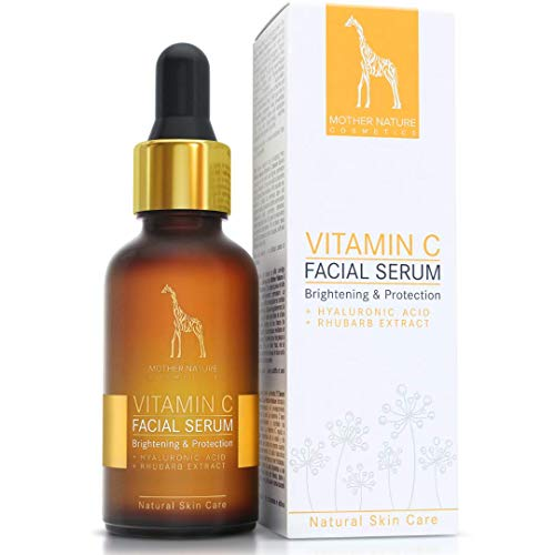 Suero de vitamina C con hialurónico y extracto de ruibarbo - COSMÉTICA NATURAL VEGANA – 30 ml hecho en Alemania por Mother Nature - Tratamiento facial intensivo antiedad contra arrugas y marcas