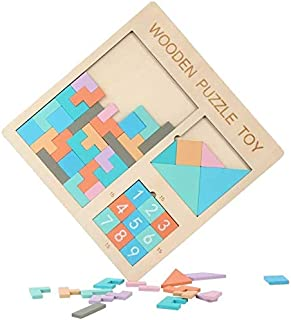 Wooden Blocks Puzzle Brain Teasers Toy Russian Tangram Colorful Jigsaw Game Wood Puzzles Montessori Intelligence STEM Educ...