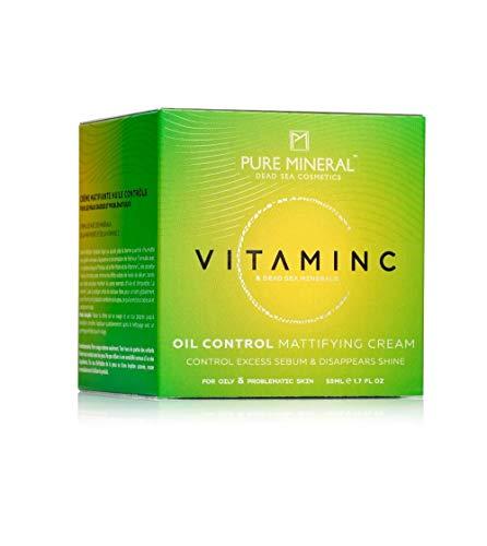 Pure Mineral Crema Matificante De Control De Aceite De Vitamina C Mineral Puros enriquecido Con Minerales Del Mar Muerto Para Pieles Grasas o Con Problemas