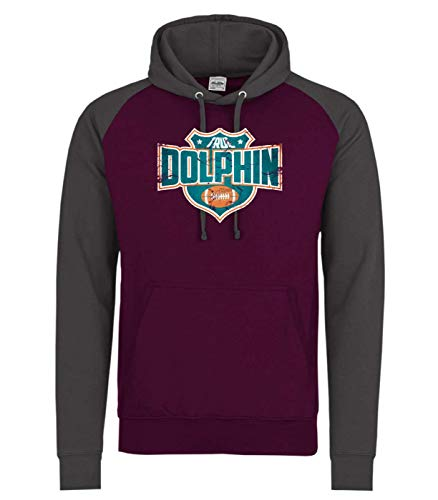 Shirt Happenz True Dolphin American Football Miami Any Given Sunday Baseball Hoodie Pulli Kapuzenpullover, Größe:XXL, Farbe:Burgund Dunkelgrau JH009