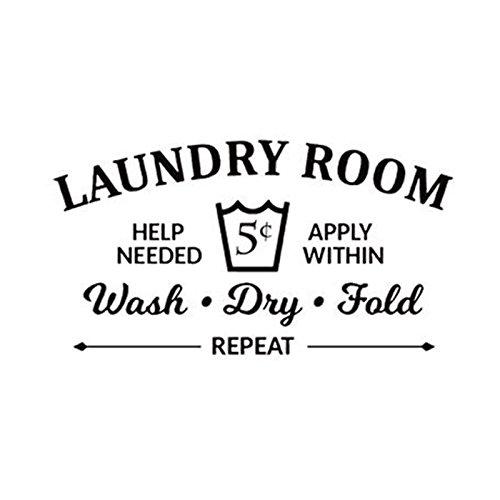 Tiamu Pegatina de Pared del Vinilo del Doblez seco Lavar Reglas de lavanderia Decoracion calcomania de Bano
