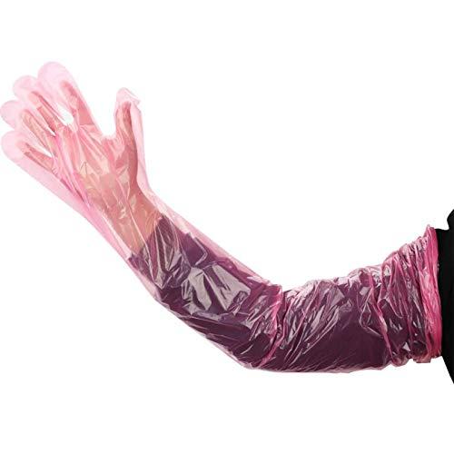 BZZBZZ Guantes Desechables Veterinarios Largos Guantes de película de plástico Blando Guantes Largos de Brazo Completo para Examen Veterinario Guantes de inseminación Artificial, 100 por Caja (Rojo)