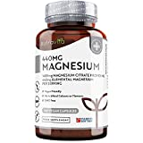 Magnesium Citrate 1480mg Providing 440mg Elemental Magnesium Per Serving - 180 Vegan-Friendly Capsules - High Dose of Elemental Magnesium - 90 Days Supply - Made in The UK by Nutravita
