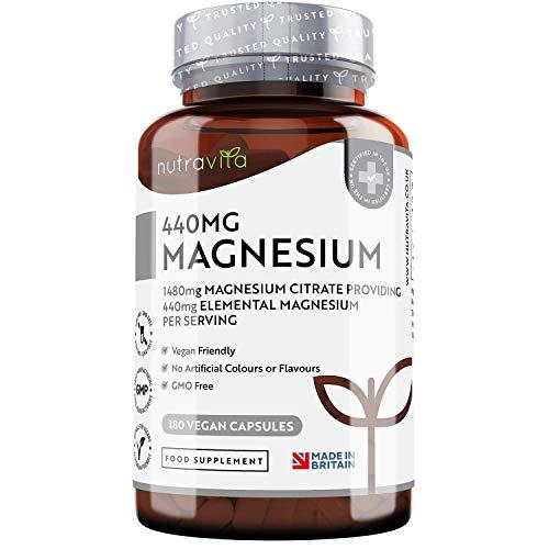 Magnesio Citrato 1480mg con 440mg di Magnesio Puro Elementare per Dose - 180 Capsule Vegane - Scorta da 90 Giorni - Integratore di Magnesio Prodotto nel Regno Unito da Nutravita