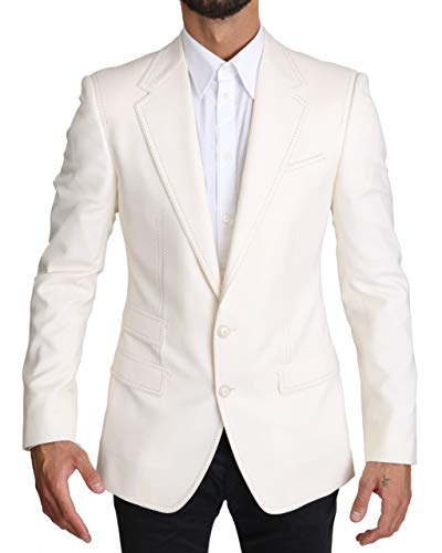 Dolce & Gabbana KOS1538 - Giacca da uomo in lana SICILIA bianco 54