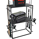 Fishing Rod/Pole Holders Storage Rack Heavy Duty 2-Shelf Fishing Tackle Storage Stand for Garage Hold Up to 12 Fishing Rods