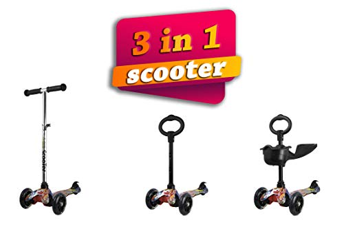 Kenrod - Trottinette 3roues pour enfant entre 2et 14ans design scooter, roues LED, sans piles 2-6 años