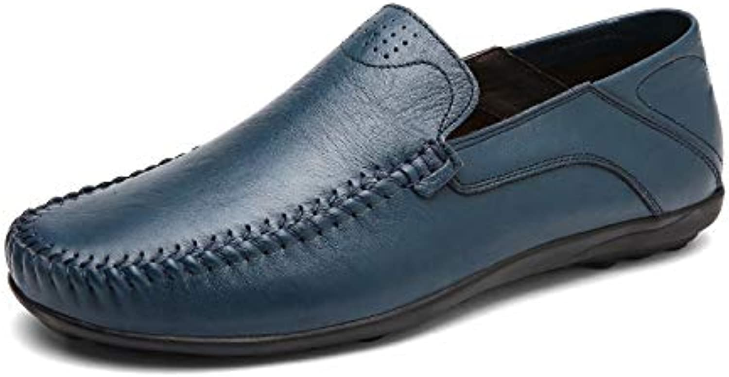 Men Boat Moccasins Slip On Style OX Leather Handtailor Soft Breathable Pure colors Round Toe Driving Loafer (color   blueee, Size   5 UK)