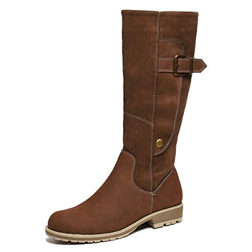 gracosy Knee High Boots for Women, Long Boot Handmade Suede Leather Winter Anti-Slip Mid Calf Bootie Warm Fur Lined Side Zipper Block Flat Snow Boots Browm 10