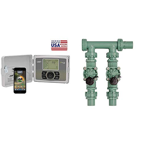 Orbit 57946 B-hyve Smart Indoor/Outdoor 6-Station WiFi Sprinkler System Controller & 57250 2-Valve Heavy Duty Preassembled Manifold