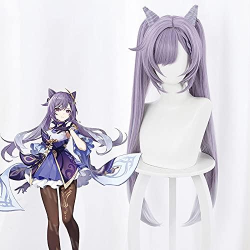 Genshin Impact: Keqing, personaje femenino de anime Cosplay 80cm Gris mixto y púrpura degradado doble cola de caballo, pelucas de moda para mujer utilizadas para cómic con y fiesta de halloween
