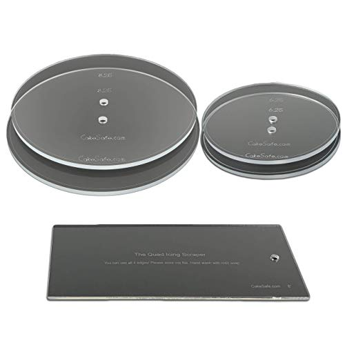 "CAKESAFE Round Bare Necessities Essential Kit — 2 Disks Each of 6.25"" and 8.25"" Round Acrylic Clear Disks with an Engraved Border Around the Entire Disk, and a ⅜"" Center Hole, Plus an 8"" Icing Scraper"