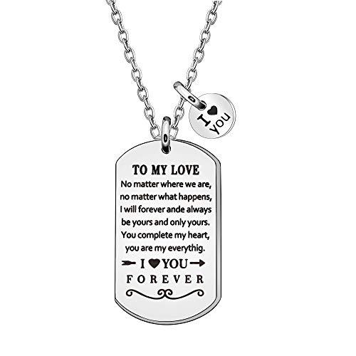 To My Love Gifts for Her Him San Valentín regalo de amor para mujeres hombres a mi amor no importa donde somos collar para novia, novio, esposa, marido