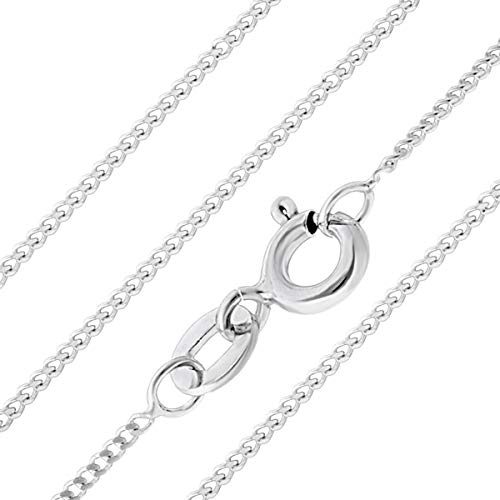 Aeon Jewellery 925 Sterling Silver Necklace - 1mm Diamond Cut Curb Chain...