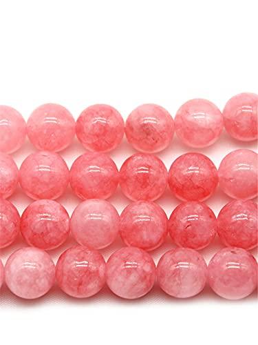 4/6/8/10 mm rosa Angelita cuarzo piedra redonda suelta cuentas espaciador para hacer joyas DIY collar pulsera accesorio 15 pulgadas hebra rosa 8mm aprox 46beads