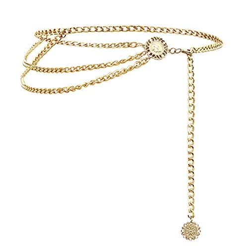 Weahre Women Waist Chain Belt Long Tassel Waistbands Hip Jewelry Body Chain Metal Link for Women Girls (Gold)
