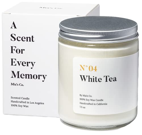 Mia's Co White Tea Scented Candle, Handmade with Natural Soy Wax and Cotton Wicks, 7.5 oz Minimalist Candle for Home, Long Lasting Burning for Stress Relief, Candle Gift for Women