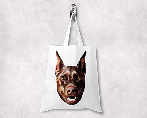 Handgemachte Dobermann-Tasche, Perfektes Geschenk für Hundebesitzer Lässige Umhängetasche, Unisex-Tragtasche, Strapazierfähiges Design, 38 ×42 cm