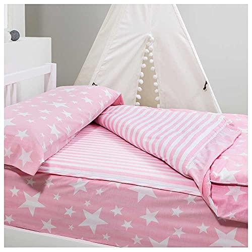 COTTON ARTean Saco nordico con Relleno NORDICO GIVETTE Pink para Cama 90 x 190/200 + 1 Funda de Almohada. Saco Unido a la Bajera con Cremallera. con Relleno nórdico. Color Rosa