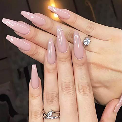 Brishow Sarg Falsche Nägel Lange Künstliche Fingernägel Reine Farbe Stick on Nails Ballerina Glänzende Vollabdeckung Acryl Falsche Nagelspitzen 20Pcs für Frauen und Mädchen (Rosa)