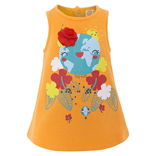 Tuc Tuc Vestido Punto Naranja NIÑA World Map, Bebés, 10, 68 (Tamaño del Fabricante:6M)
