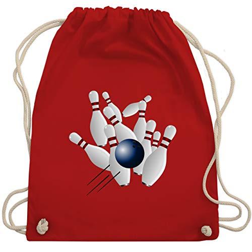Shirtracer Bowling & Kegeln - Bowling Strike Pins Ball - Unisize - Rot - tasche kegeln - WM110 - Turnbeutel und Stoffbeutel aus Baumwolle