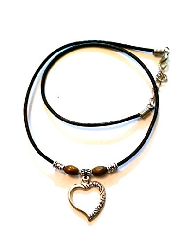 Black Leather Adjustable 13' Choker Necklace - Surfer, Hippi, Boho, Fashion Necklace (Ornate Heart Charm)