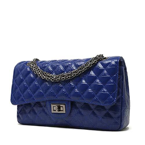 HSIYE,Bolso Bandolera,Bolsos de Hombro para Mujer Bolsos de Cuero para Mujer diseñador Bandolera Mujer Mujer Gran Cadena Mujer, Azul, L