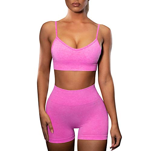 Women's Workout Sets Two Piece Seamless Slim Fit Yoga Clothing Outfits High Waisted Tummy Control Shorts Pants with Crop Top Sports Bras Set Running Fitness Gym Activewear Tracksuits Hot Pink S from