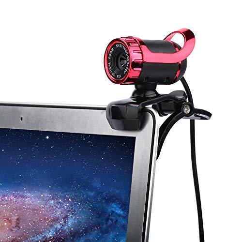 Telecamera Con Microfono Incorporato 360 Con Un HD Webcam Regolabile Per Computer Portatili PC Skype, Rosso