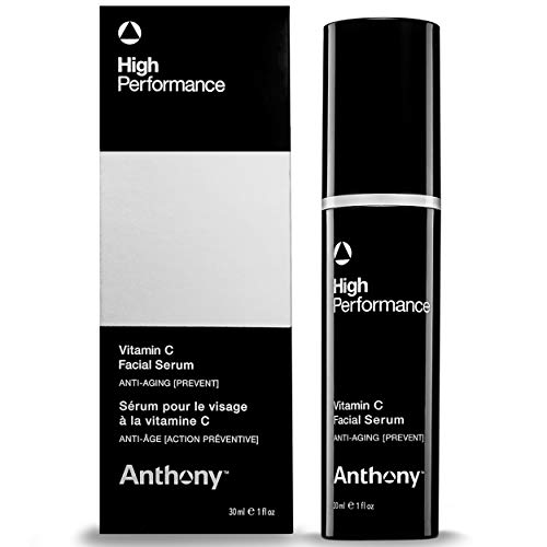 Anthony High Performance Vitamin C Facial Serum, 1 Fl Oz, Contains Polypeptides, Salicylic Acid, Licorice Root Extract, Anti-Aging, Retexturizes, Rejuvenanes, and Brightens Skin
