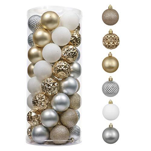 Valery Madelyn 50Pcs Bolas de Navidad de 5cm, Adornos de Navidad para Arbol, Decoración Navideños Plástico Blanco y Dorado, Regalos de Colgantes de Navidad (Elegante)