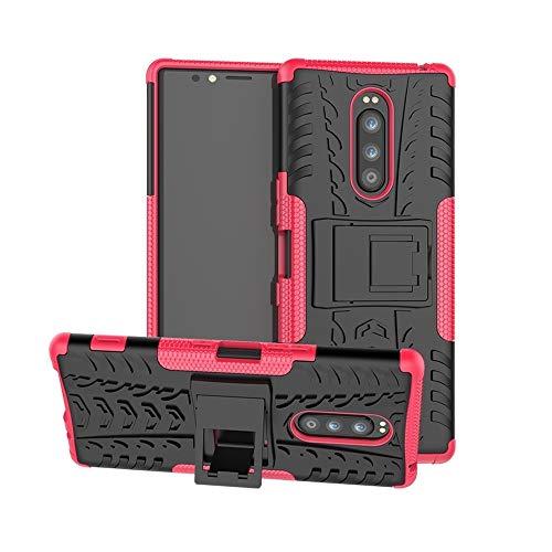 Ebogor para Para Sony Xperia 1 / Xperia XZ4 Case, Textura de neumáticos TPU + PC Funda Protectora a Prueba de Golpes con Titular (Negro) (Color : Pink)