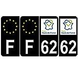 Supstick 4 Stickers Autocollants Plaques Immatriculation Auto Dept 62 Hauts de France Noir Angles Arrondis