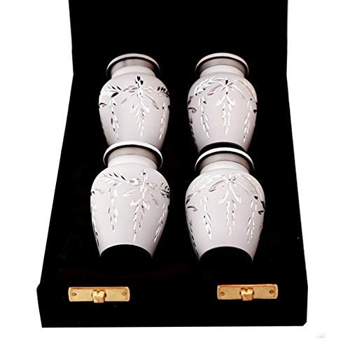 White Keepsake Cremation Urns - Small White Urns Set of 4 for Human Ashes - Premium Velvet Box & Bags Included - Honor Your Loved One with Mini Diamond Cut Urns White - Perfect for Adults & Infants