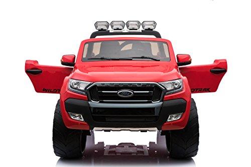 RC Auto kaufen Kinderauto Bild 5: ES-TOYS Kinderfahrzeug - Elektro Auto Ford Ranger, Modell - lizenziert - 2X 12V7AH Akku,4 Motoren 2,4Ghz MP4 Ledersitz Eva 2 Sitzer (Rot)*