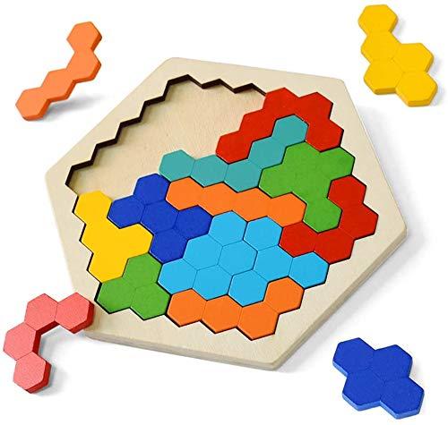 HUADADA Holzpuzzle-Hölzernes Sechseck Puzzle, Tangram Denkaufgabe Spielzeug Geometrische Logik IQ Spiel Montessori Pädagogisches Geschenk , Puzzles für Jungen Mädchen 3 4 5+ Jahre Alt.(14 Stück)