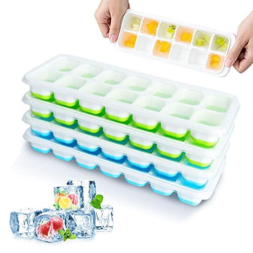 Eiswürfelform, 14-Fach Eiswürfelform Silikon mit Deckelm 4 Stück Eiswürfelbehälter BPA Frei Eiswürfel Form Quadratische Eiswürfelschalen Sommer Platzsparend Ice Tray Ice Cube, Blau/Grün (4er pack)