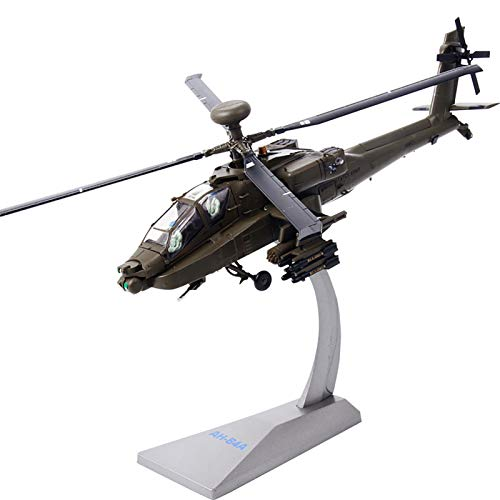 WZRY Model plane, AH-64 Apache Helicopter - 1:72 Metal Die-cast Airplane - American Airforce, Includes Alloy Stand, Teens Adults Collectibles Military Airplane
