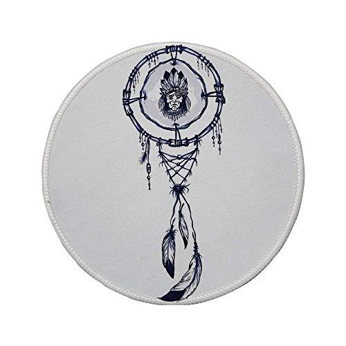 Rutschfreies Gummi-rundes Mauspad indianisches indianisches schamanisches Symbol mit indischem Häuptling Boho Dreamcatcher-Musterkunst blau-weiß 7.9